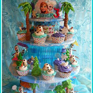 Frozen cupcake tower