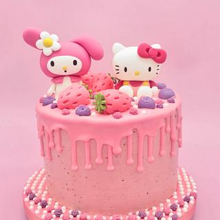 My Melody & Hello Kitty strawberry cake