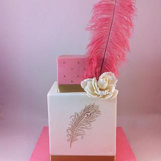 Wedding Cake with Giant Feather