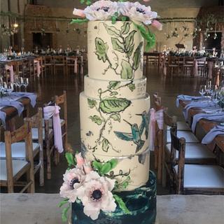 Handpainted Cake-Hummingbirds