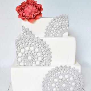 Doily & Peony Wedding Cake