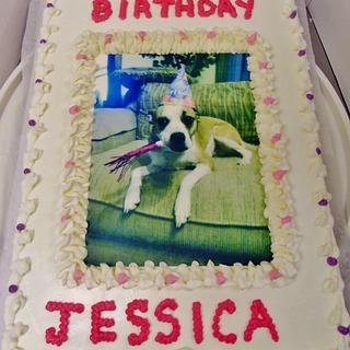 Dog edible image BC cake