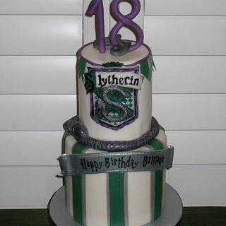 Slytherin birthday cake - Cake by sking
