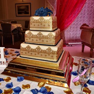 Blue & Gold Asian Wedding cake :) x