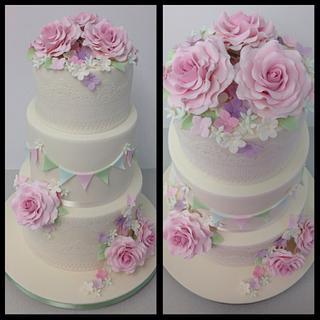 Vintage style rose and lace wedding cake