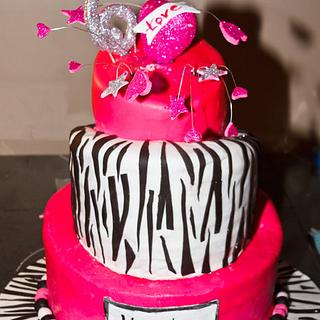 Hot Pink and Zebra Stripe Topsy Turvy Birthday Cake