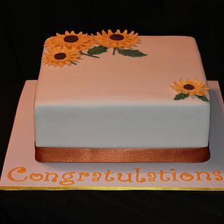 Sunflower Engagement Cake
