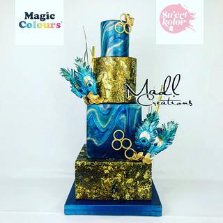 Wedding cake luxury peacock