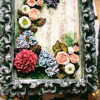 Arreglo flores de glasa y galleta marco envejecida!  - Cake by Eva bella daucousse