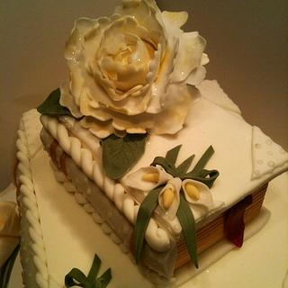 Stacked books Wedding cake, peony, also a Confirmation cake