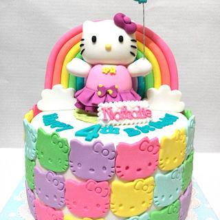 Rainbow Hello Kitty cake...