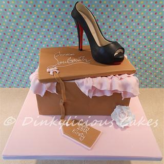 """Christian Louboutin"" shoe box cake - Cake by Dinkylicious Cakes"