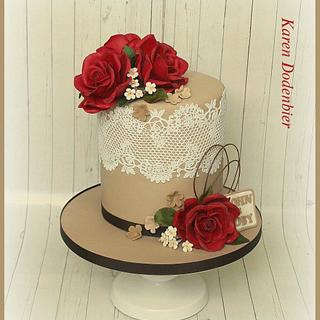 Red Roses double barrel cake