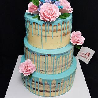 Blue Drip Naked Rose Cake