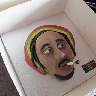 Bob Marley sculpted cake.