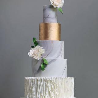 Marbled Gold Wedding Cake