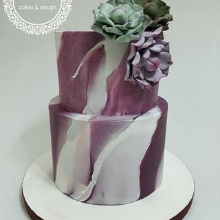 Marbled with succulents  - Cake by Silvia Caballero