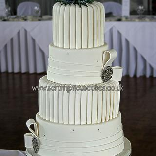 Pleats and Bands Wedding Cake