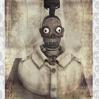 shrunken head guy halloween cake - Cake by Tracycakescreations