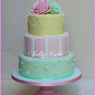 Pretty Pastels Wedding Cake - Cake by JellyCake - Trudy Mitchell