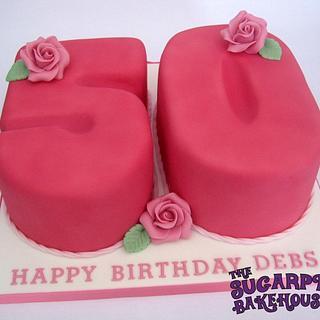 A Very Pink 50th Birthday Cake