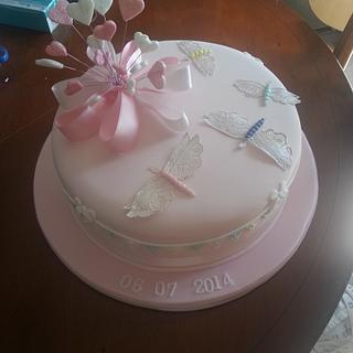 Dragonfly christening cake