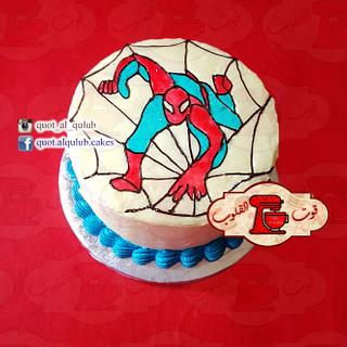 Whipped cream Spiderman Cake