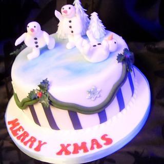 Skating Snowmen Christmas Cake - Cake by Christine