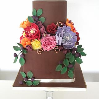 Dutch still life inspired wedding cake with colourful florals