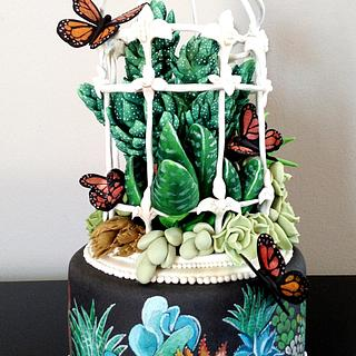 Vet plant cake with hand painted detail