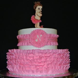 Pink Ruffle Baby Shower Cake