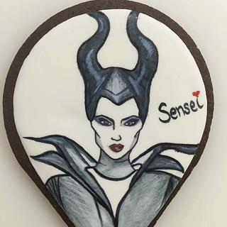 Maleficent hand painted cookie