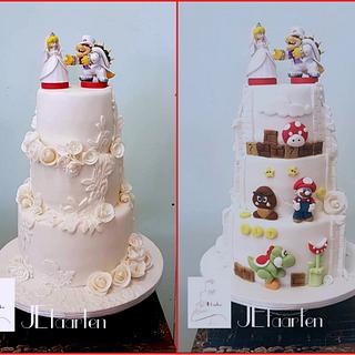 weddingcake with a suprising twist - Cake by Judith-JEtaarten