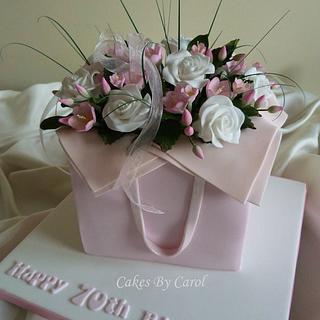 Pink flower box Cake