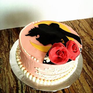 Sailor moon silhouette Cake - Cake by Emsspecialtydesserts