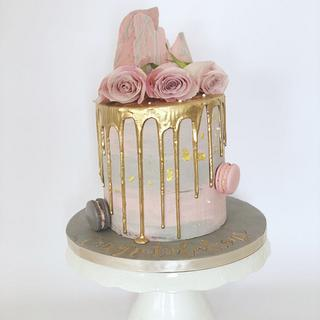 Pink and grey drip cake
