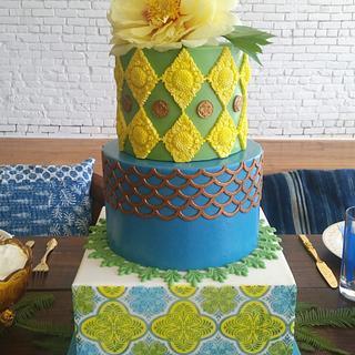 Cuban Tile Themed Styled Shoot Cake