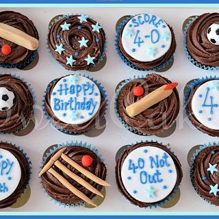Cricket & Football themed Cupcakes