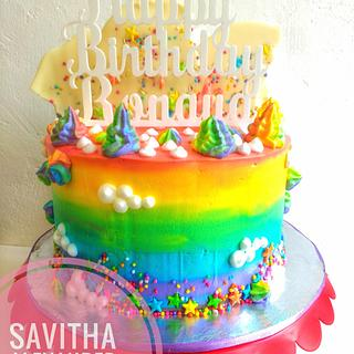 Freshcream rainbow cake