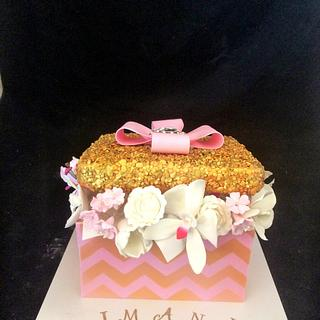 Pink and gold gift box cake