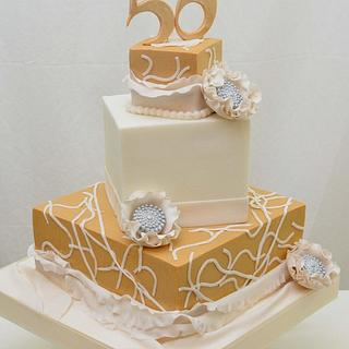 50th Birthday Cake in Gold and White