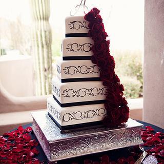 Fondant and scrolls Black and White cake