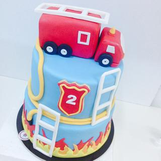 Firetruck cake on fire