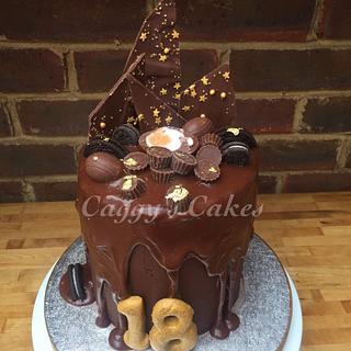 18th birthday chocolate ganache drip cake