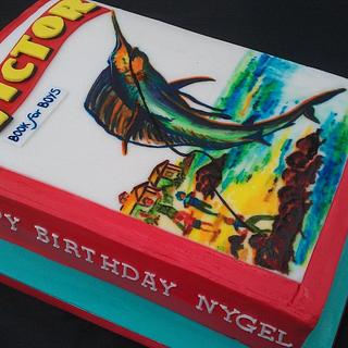 Handpainted comic book cake
