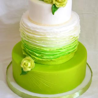 Green frills cake