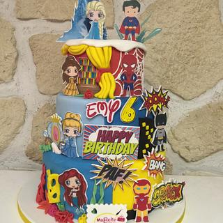 Princess and comics cake