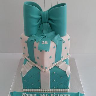 Tiffany Box Cake - Cake by Creative Cakes - Deborah Feltham