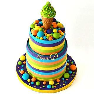 Ice -Cream Cone  and Stripe Cake - Cake by Shamima Desai
