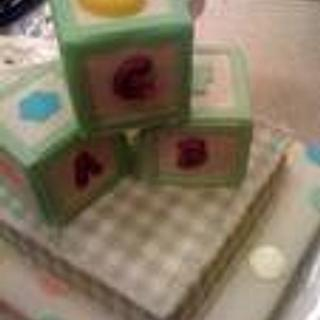 baby shower 3 tier, icing sheets ,fondant, ABC